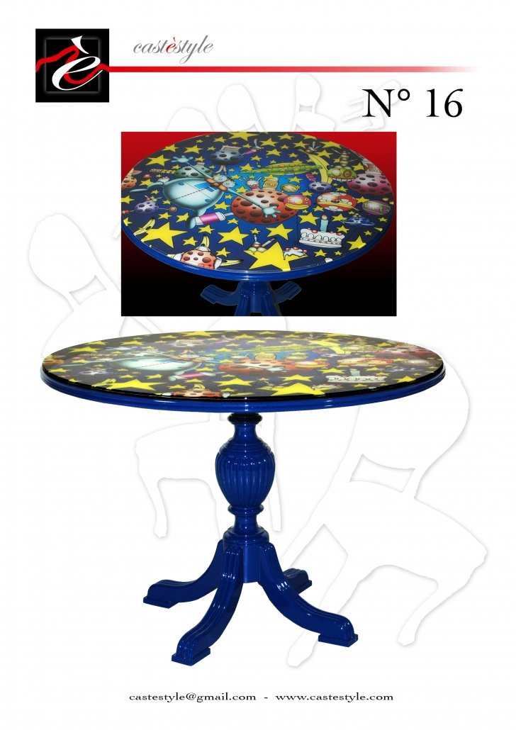 Tavolo Rotondo Blu Pop Art n.16 - Castèstyle