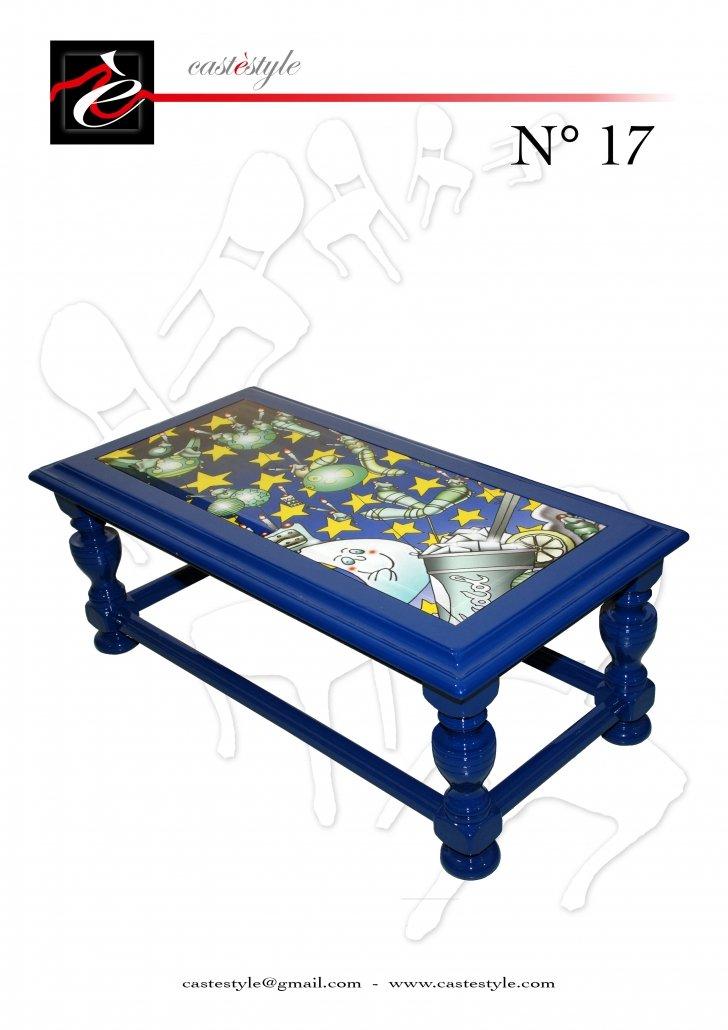 Tavolino da Salotto blu con Illustrazioni - Lucchesi n.17- Catalogo Castèstyle