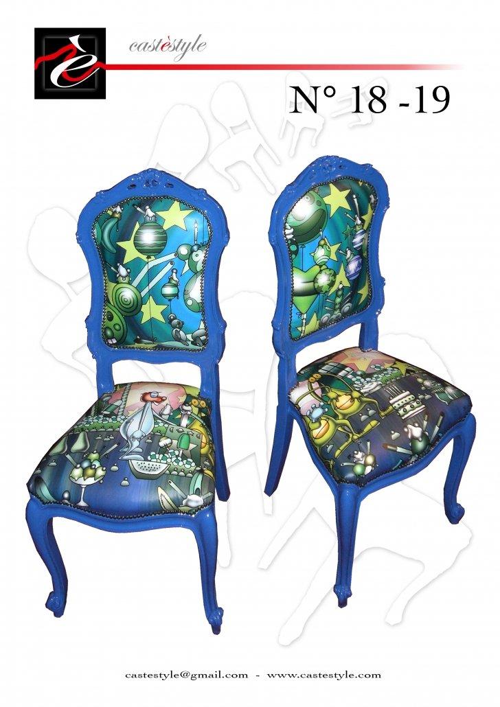 Sedie Stile Barocco Blu - Upcycling Castèstyle