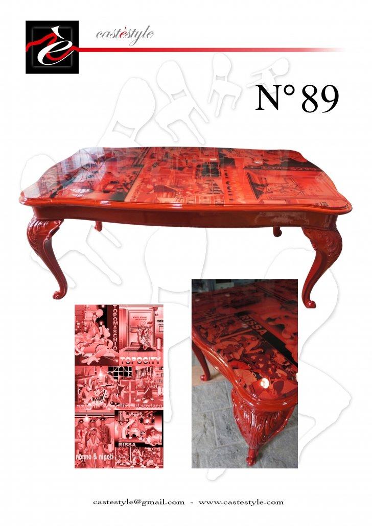 Tavolo Chippendale Rosso con Fumetti - Catalogo Mobili d'Arte Castèstyle n.89