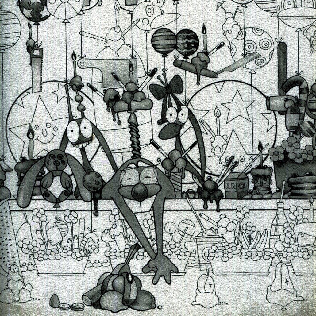 Illustrazione in Bianco e Nero dal Corriere del Birichino- tavola 8