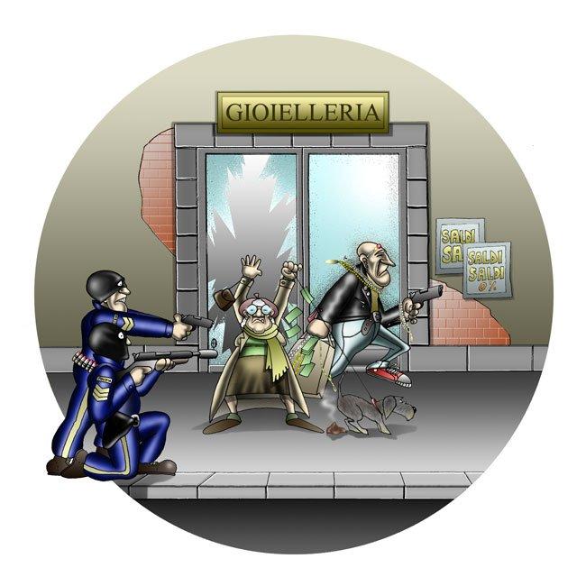 Furto in Gioielleria - disegno ironico di Lucchesi